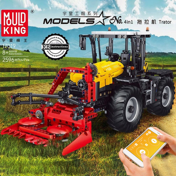 2596PCS MOULDKING 17019 4-in-1 yellow tractor