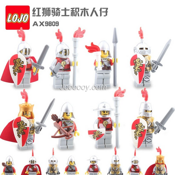 LOJO AX9809 Red Lion Knight Minifigure