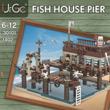 1402Pcs Urge Fish House Pier compatible old fishing store