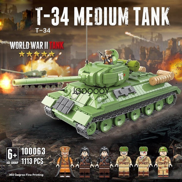 1113pcs  QuanGuan 100063 T-34 medium tank ww2 military