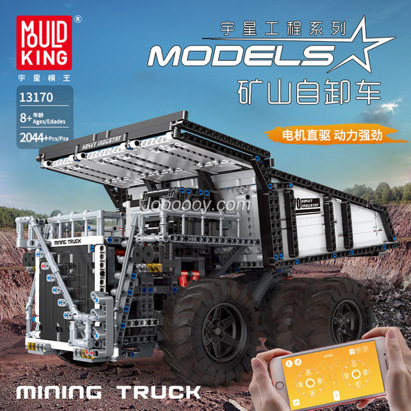2005Pcs Mould King 13170 Custom RC Mining Dump Truck Muldenkipper