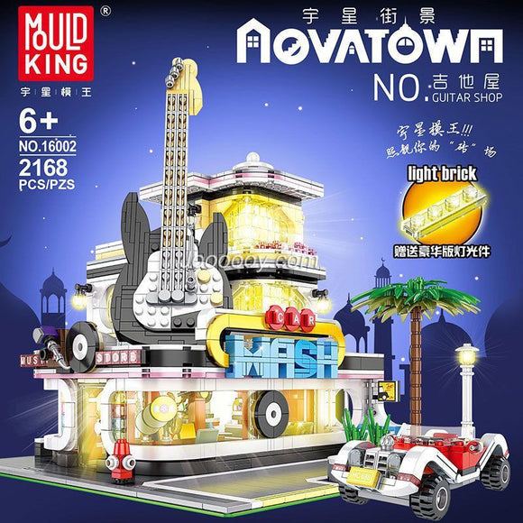 2168pcs Mould King 16002 guitar shop with LED lights