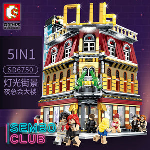 SEMBO 6991  5-IN-1 Streetview Series Club Building Blocks With LED LIGHT