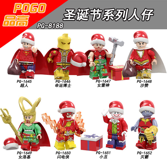 Pingao PG8188 Christmas Series Superman Destiny Doctor Daughter Raytheon Shazan Assembles Block minifigures