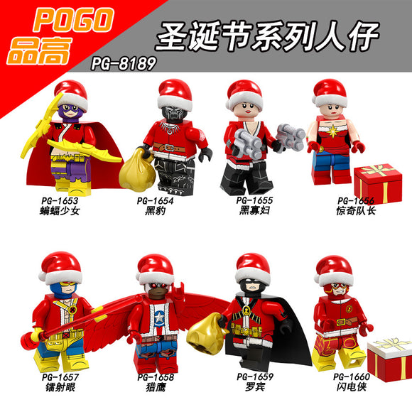 Pingao PG8189 Christmas Series Assembly Building Blocks Bat Girl Panther Marvel Captain Falcon Robin