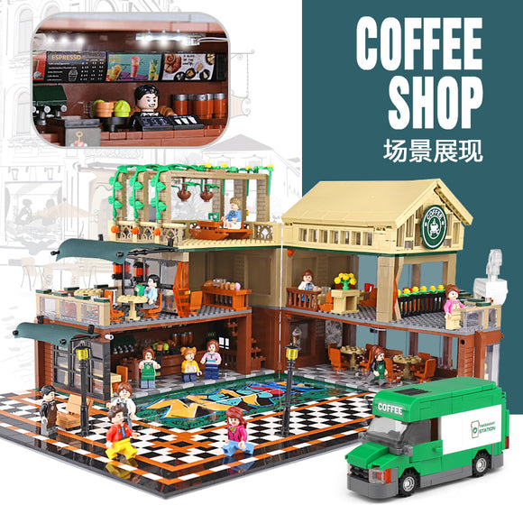 2095Pcs Sembo Streetview Casual Coffee House with LED Light