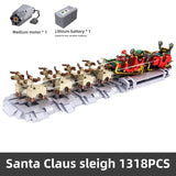1318PCS Mould King 10015 Christmas Santa Sleigh