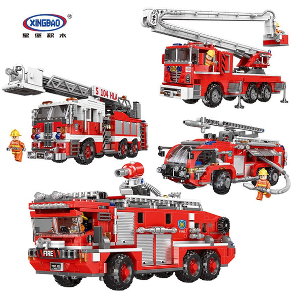 Technic Xingbao 03028 03029 03030 03031 City Fire Truck The Rescue Vehicle Sets Building Ladder