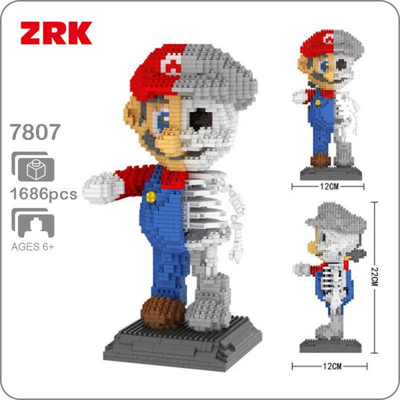 1686pcs ZRK 7807 Dissection Skeleton Super Mario Creator Magic Diamond Blocks