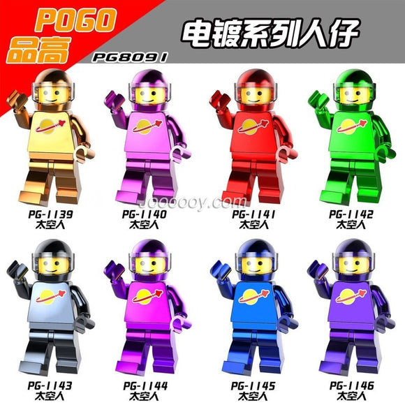 PG8091 Electroplating space series Chrome minifigures