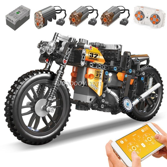 383PCS MOULDKING 23005 Racing Motorcycle with Motor