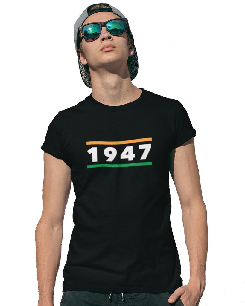 1947 Freedom India Black Color T-Shirt For Men