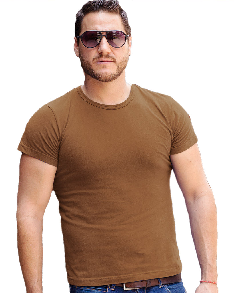 Coffee Brown Color Plain Round Neck T-Shirt For Men