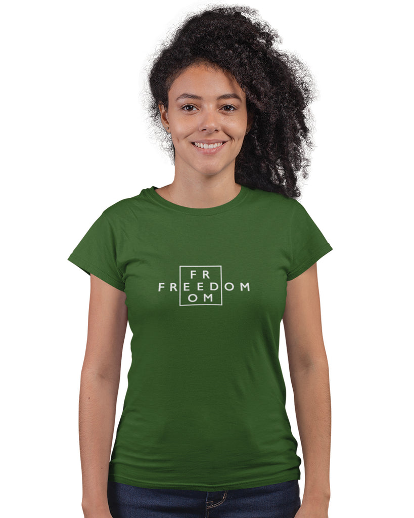 Freedom Olive Green T-Shirt For Women