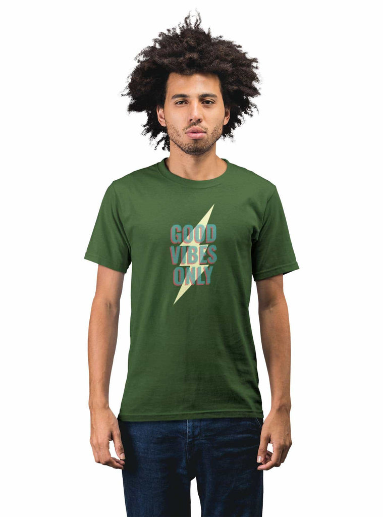 Good Vibes Only Olive Green T-Shirt For Men - ThatChimp