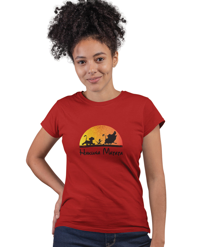 Hakuna Matata Prince Lion Red Color T-Shirt For Women
