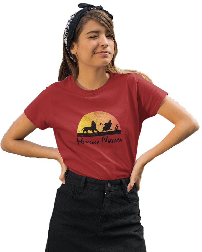 Hakuna Matata Red Color T-Shirt For Women