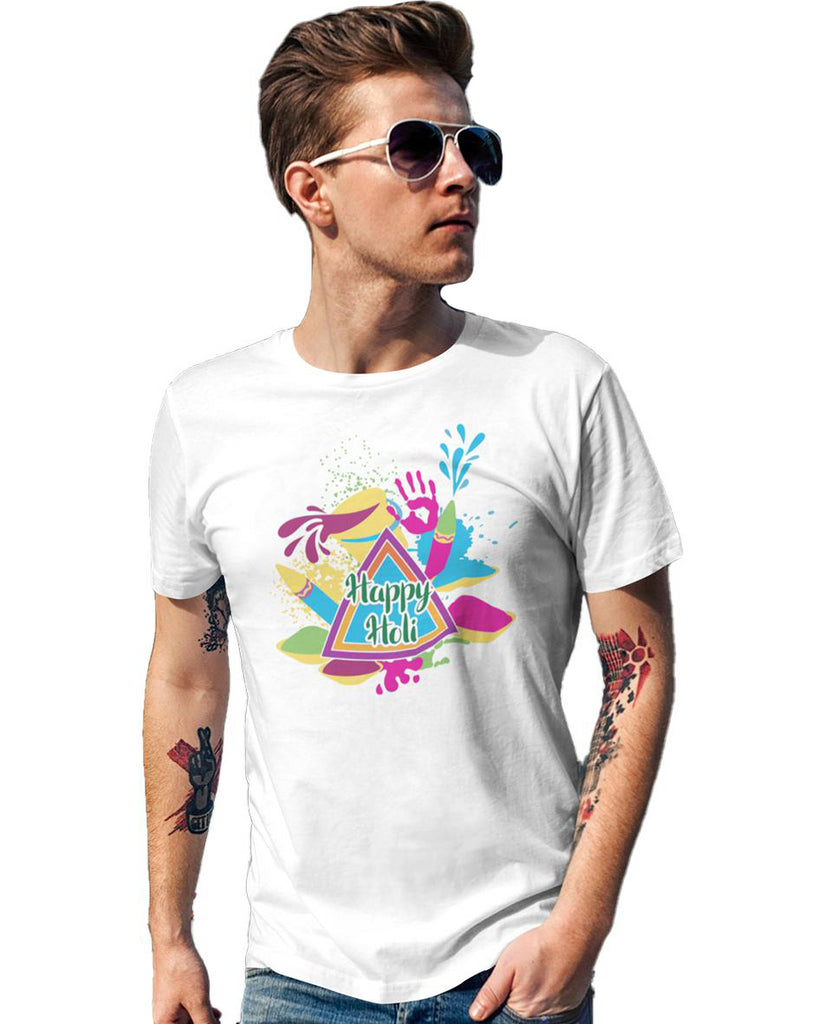 Happy Holi White Color T-Shirt For Men