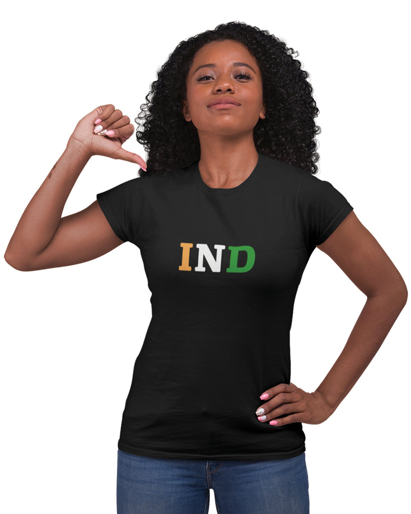 India Black Color T-Shirt For Women