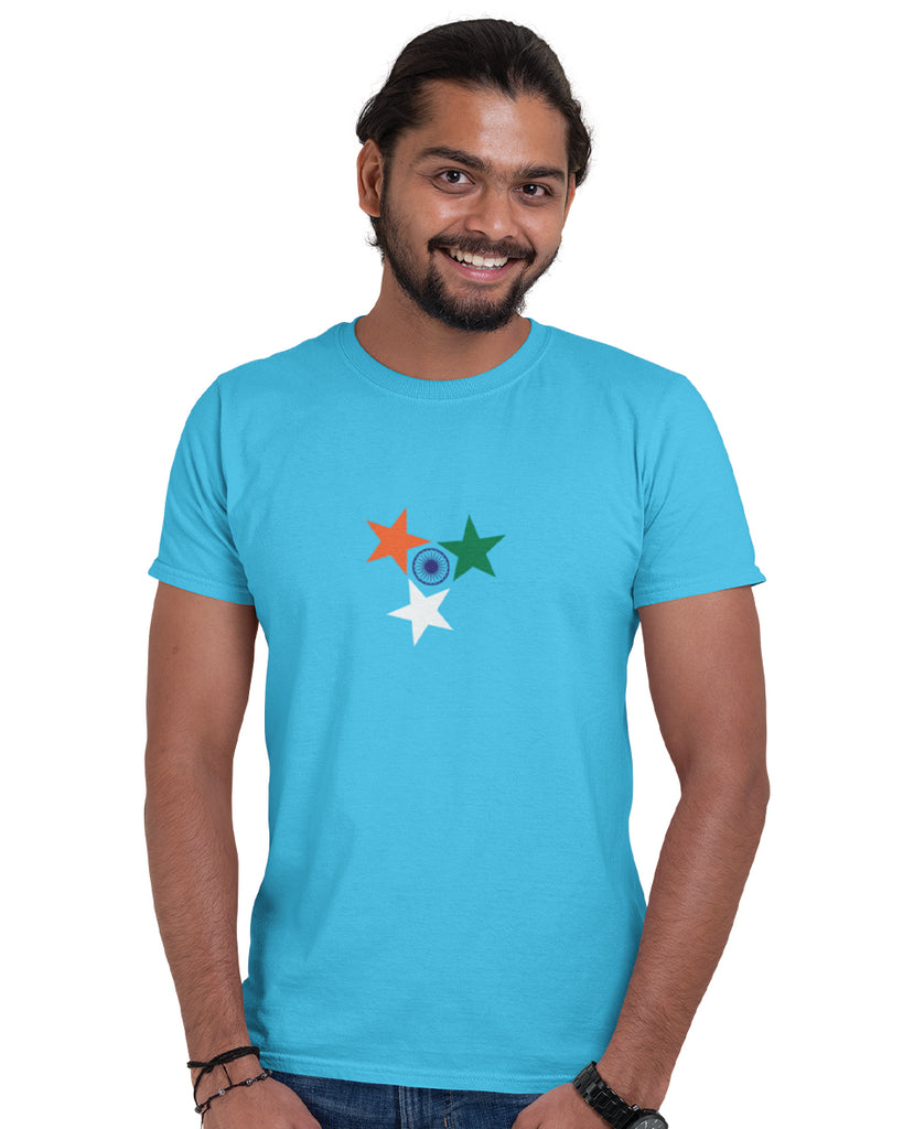 Indian Flag Colors Sky Blue T-Shirt For Men