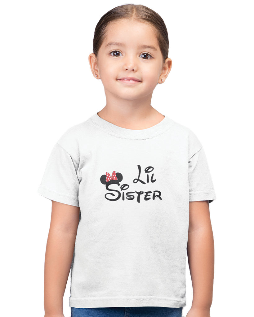 Lil Sister White Color T-Shirt For Girls