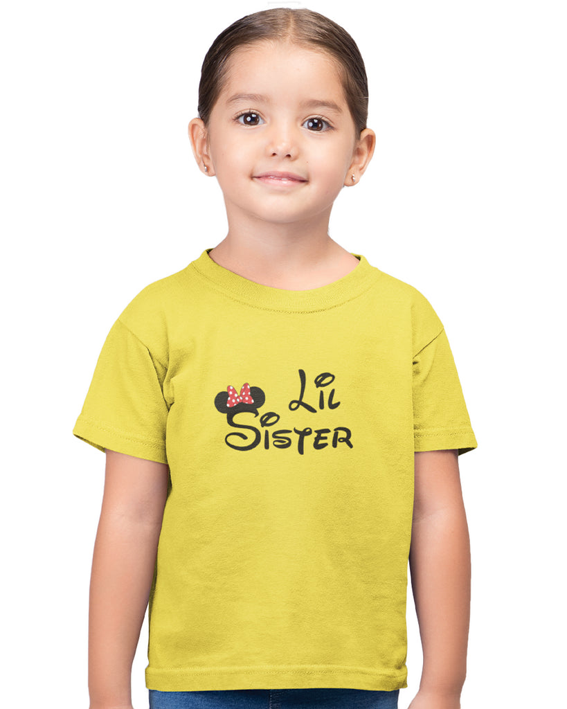 Lil Sister Yellow Color T-Shirt For Girls