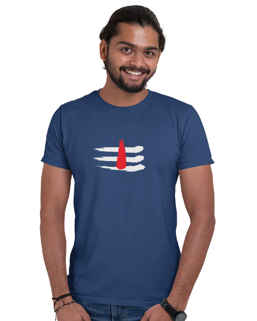 Mahakaal Navy Blue T-Shirt For Men