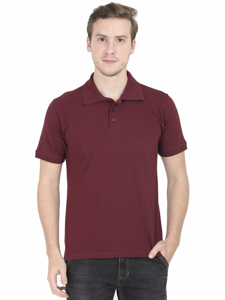 Maroon Plain Polo T-Shirt For Men - ThatChimp