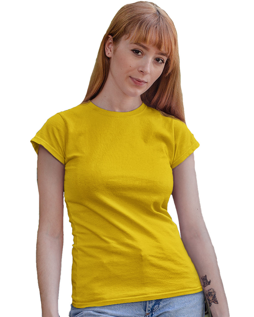 Mustard Yellow Plain Round Neck T-Shirt For Women