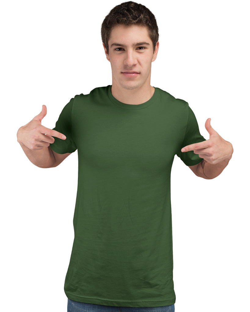 Olive Green Plain Round Neck T-Shirt For Men