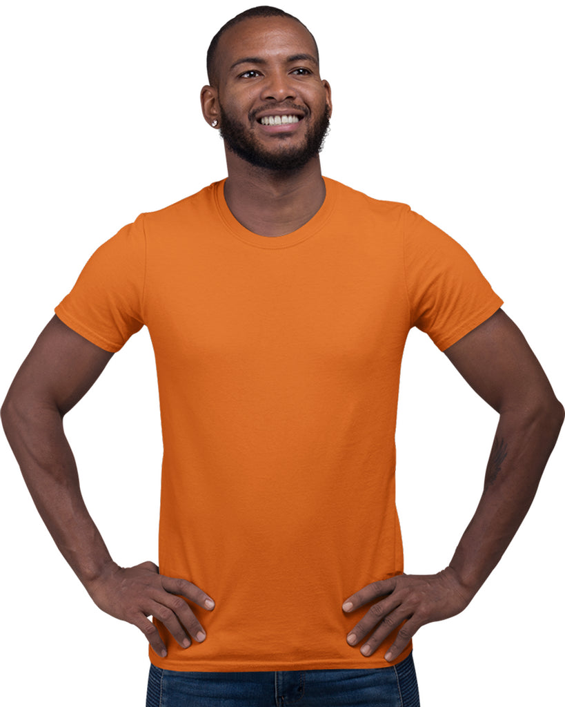 Orange Color Plain Round Neck T-Shirt For Men