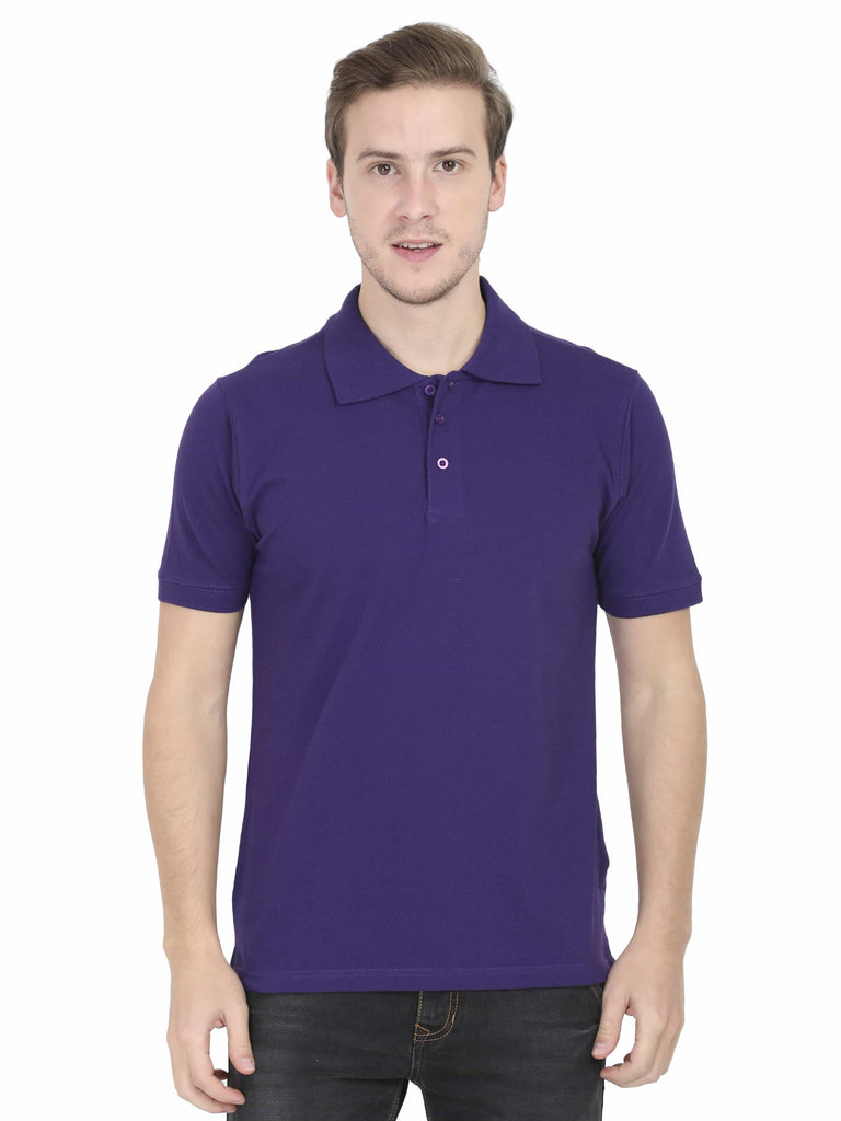 Purple Plain Polo T-Shirt For Men - ThatChimp