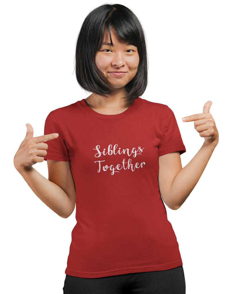 Siblings Together Red Color T-Shirt For Women
