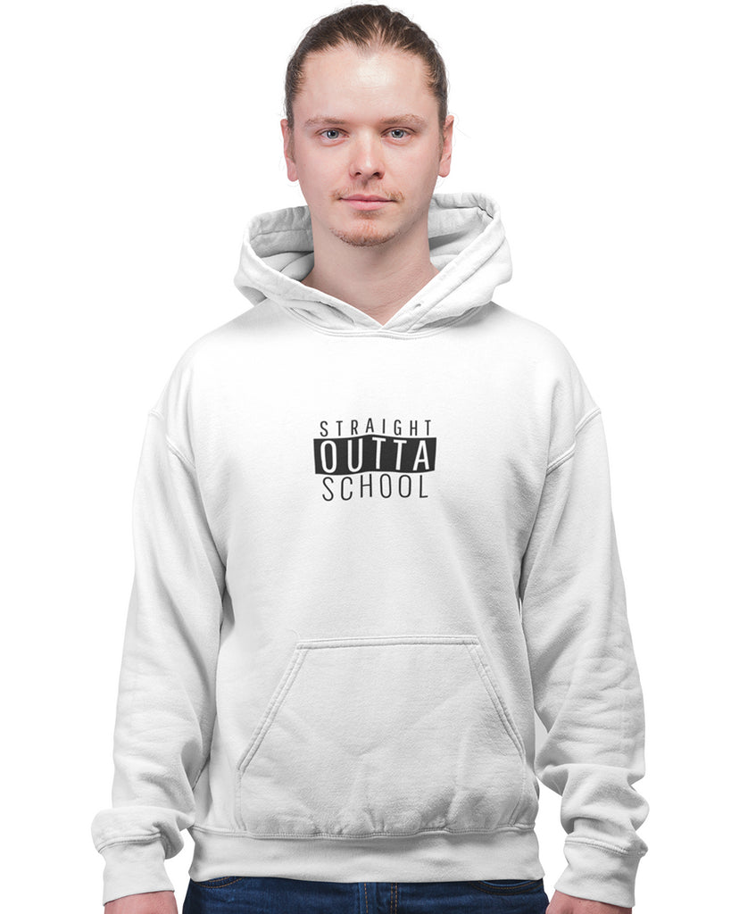 Straight Outta School White Hoodie For Men