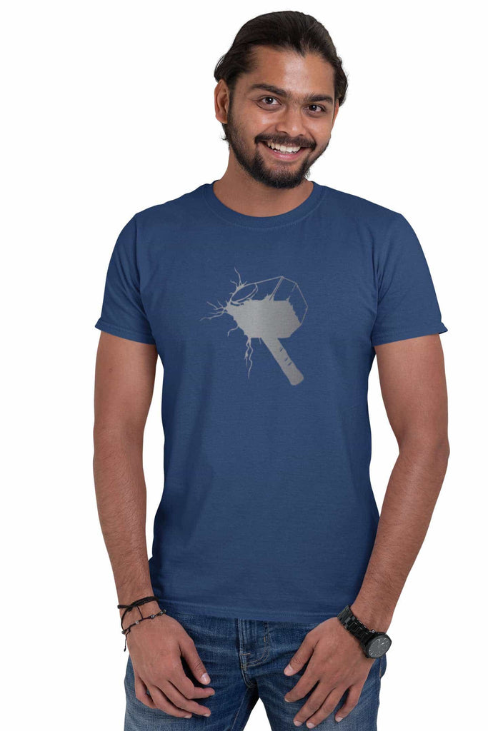 Thor Hammer Navy Blue T-Shirt For Men - ThatChimp