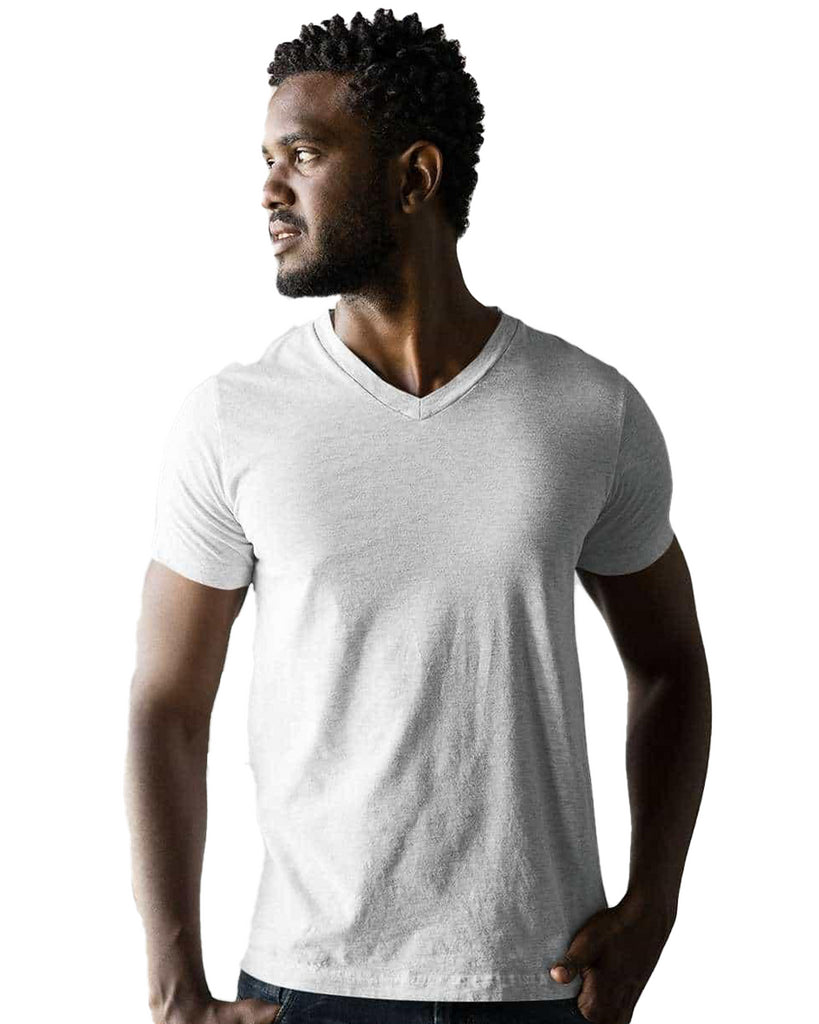 White Plain V Neck T-Shirt For Men