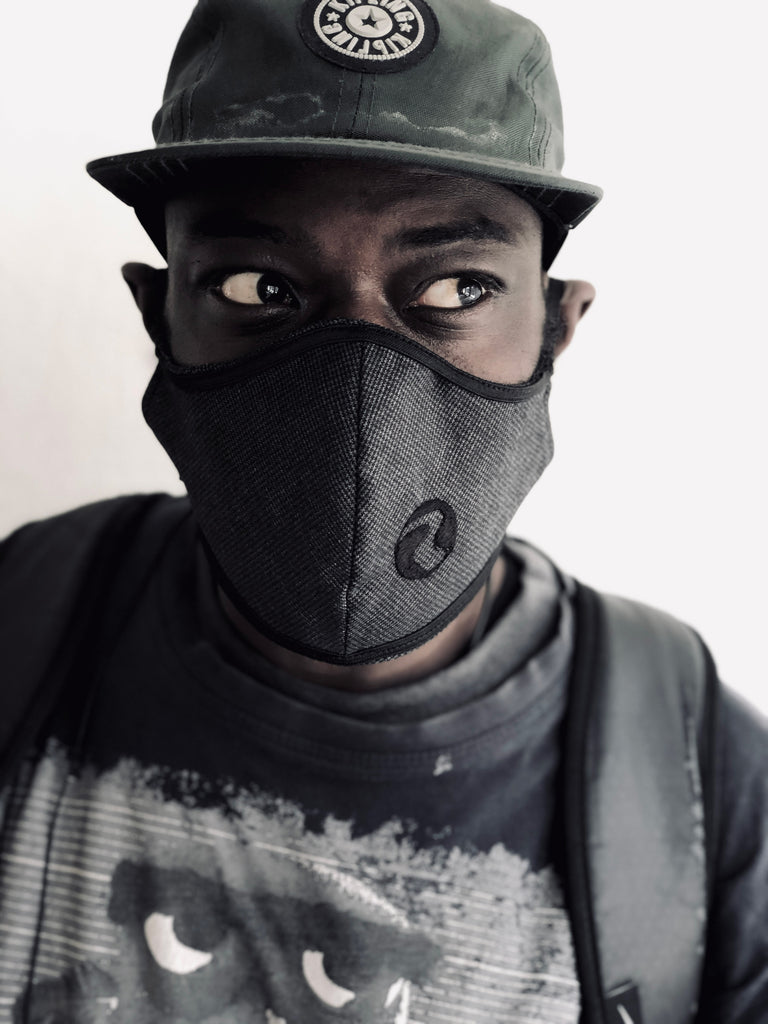 Patrick Black on Grey Denim Face Mask