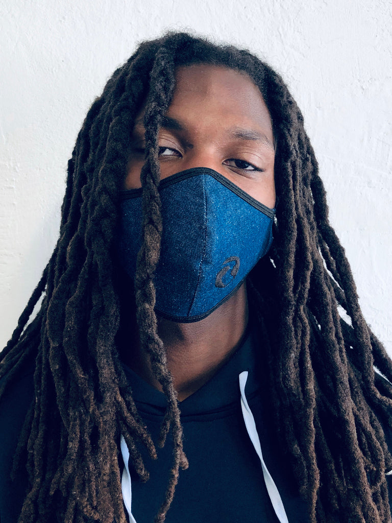 Albertino Black on Denim Face Mask