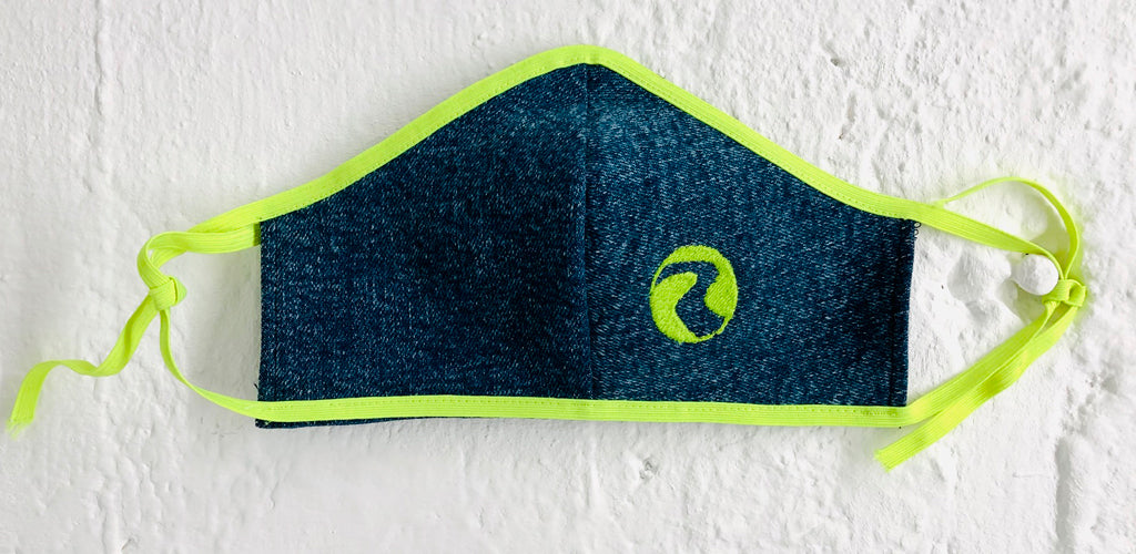 Charmaine Neon Green 80's Denim Face Mask