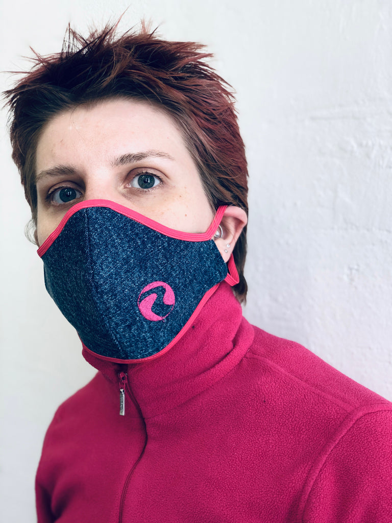 Ruby Neon Pink on 80's Denim Face Mask