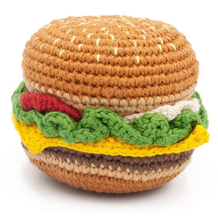Crochet cotton toy for dogs in the shape of a hamburger