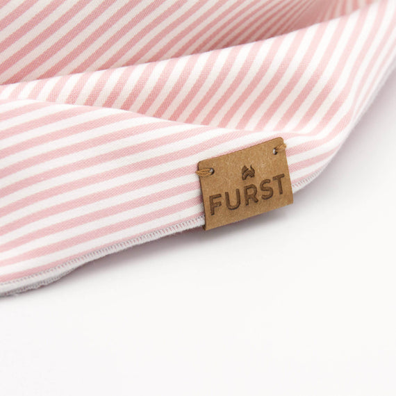FURST - Vegan leather label on a pink striped cat bandana