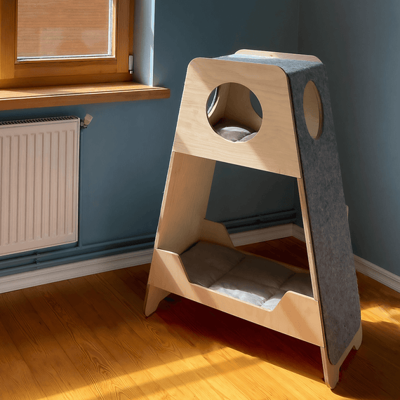 FURST - Activity tower and high-end cat tree in natural birch