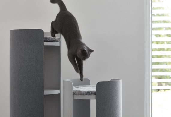 FURST - Cat jumping from one tower to another of his trendy ash gray cat tree