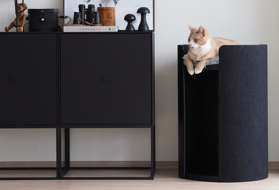 FURST - Small decorative tower of the high-end cat tree torre in black ash
