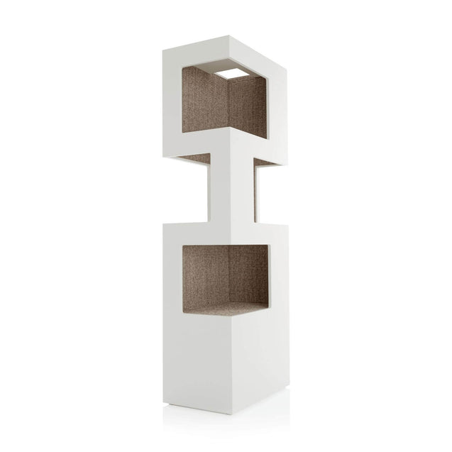 FURST - Very elegant upscale design cat tree in white and silver sisal color