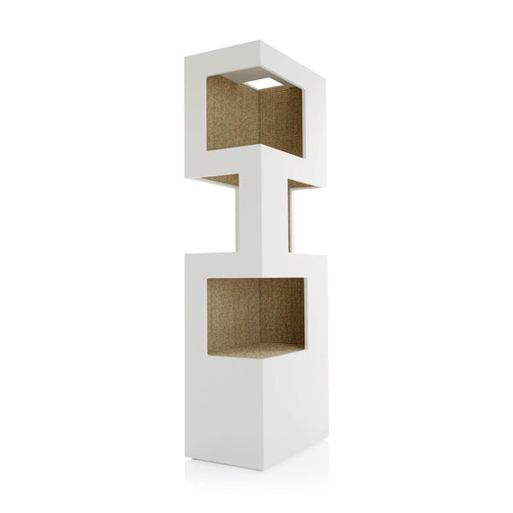 FURST - Very elegant upscale design cat tree in white and beige sisal color