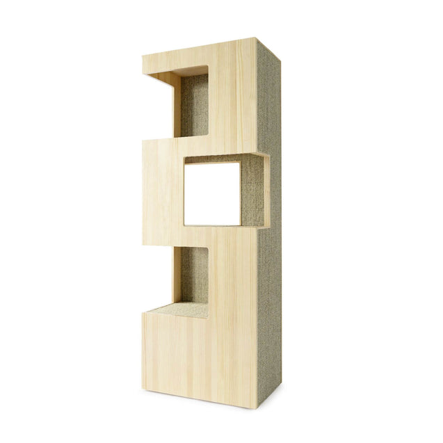 FURST - Very elegant upscale design cat tree in natural pine and sisal anthracite, silver or beige