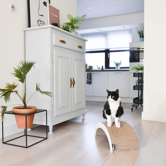 FURST - High-end Arcade-shaped scratching post and natural original scratching post for white cats