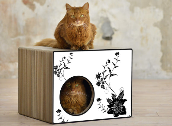 FURST - Scrapbook upscale and original scraper natural for cat of white color with black asian flower